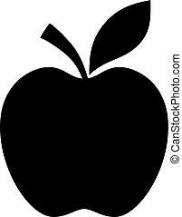 nero, silhouette, mela