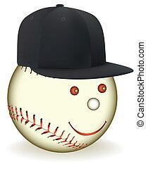 nero, sorridente, berretto, baseball