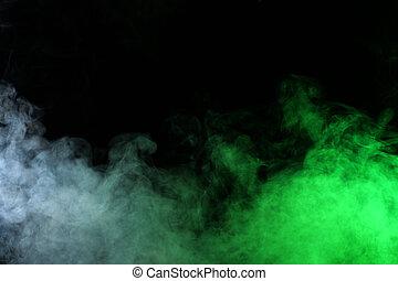 nero, spia verde, fumo, fondo, oscurità