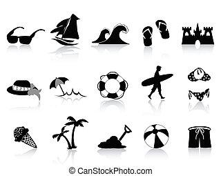 nero, spiaggia, icona, set
