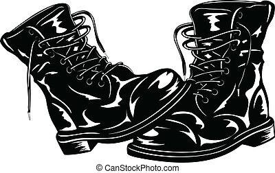 nero, stivali, esercito