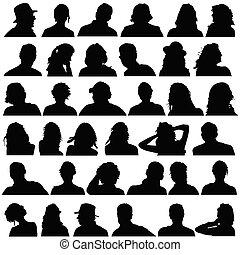 nero, testa, vettore, silhouette, persone