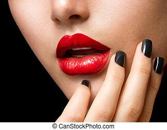 nero, trucco, labbra, manicure., rosso, unghia