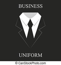 nero uniforme, affari, disegno, completo, appartamento