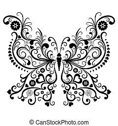 nero, vendemmia, farfalla
