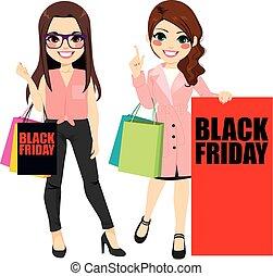 nero, venerdì, ragazze, moda