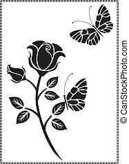 nero, vettore, disegno, fiore