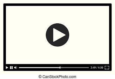 nero, video, web, giocatore, vettore, white., illustrazione