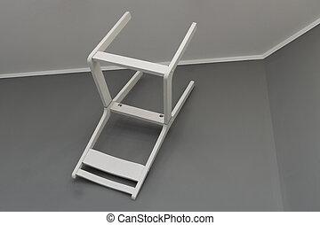 nero, wall., cornice, bianco, sedia, colpo.