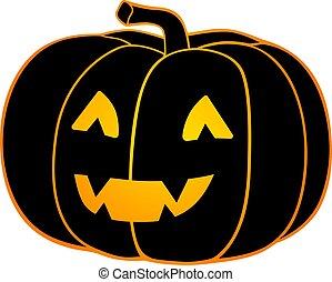 nero, -, zucca, cricco, colorare, casato, face., lanterna, silhouette, pieno, fischio, illustration., pauroso, ardendo, halloween
