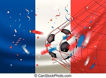 net., palla, vincitore, wins., football, francia, concetto, fiammifero