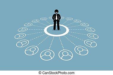 network., affari, contatti, molti, uomo affari, forte