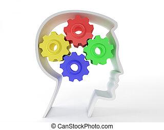 neurologico, simbolo, testa, funzionamento, rappresentato, salute, rappresentare, depression., ingranaggi, cervello, pazienti, intelligenza, mentale, umano, funzione, forma