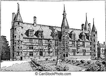 nevers, incisione, ducal, vendemmia, palazzo, francia, borgogna
