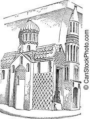 nevers, salvatore, vendemmia, incisione, francia, santo, chiesa