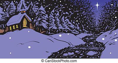 nevoso, sera, inverno, chiesa