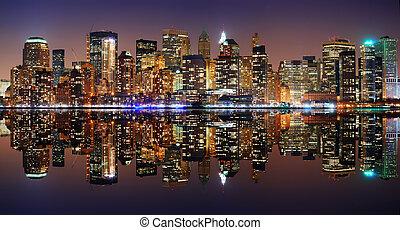 new york, manhattan, panorama, città