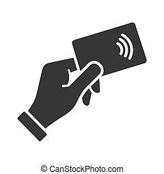 nfc, mano, credito, vettore, icon., pagamento, scheda