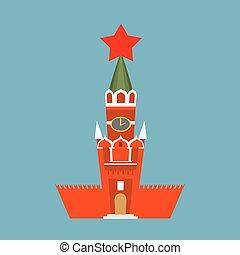 ni, stile, quadrato, spasskaya, isolated., mosca, cremlino, russia., pietra miliara nazionale, torre, cartone animato, rosso