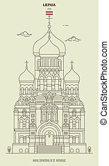 nicholas, cattedrale, punto di riferimento, icona, liepaja, latvia., st., navale