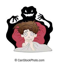 nightmare., vettore, strisciante, spaventato, uggia, isolato, paura, letto, ragazzo, scuro, illustrazione, white., monster.