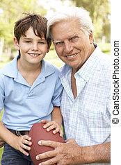 nipote, football, insieme, nonno, americano, gioco