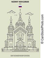 nizhny, cattedrale, alessandro, punto di riferimento, novgorod, nevsky, russia., santo, icona