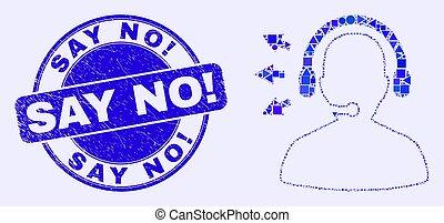 no!, afflizione, dire, mosaico, francobollo, blu, sigillo, operatore, discorso