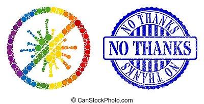 no, arcobaleno, proibito, ringraziamento, spheric, icona, punti, coronavirus, sigillo, afflizione, composizione