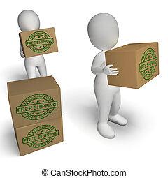 no, francobollo, esposizione, consegnare, scatole, spedizione marittima, carica, libero