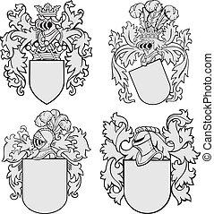 no4, aristocratico, set, emblemi