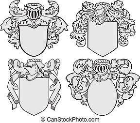 no5, aristocratico, set, emblemi
