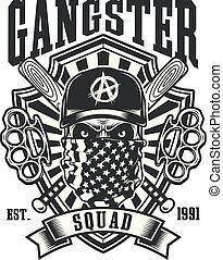 nocche, emblema, cranio, baseball, gangster, pipistrelli, attraversato, ottone