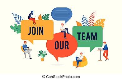 noi, concetto, unire, persone, immagine, gigante, illustrazione, giovane, squadra, assunzione, vettore, discorso, nostro, gruppo, bolle