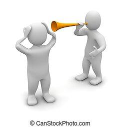 noise., vuvuzela, reso, illustration., 3d