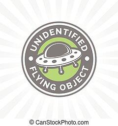 non identificato, badge., ufo, volare, simbolo., oggetto, icon., astronave, piattino