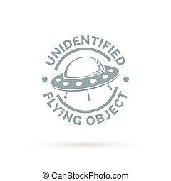 non identificato, oggetto, ufo, segno., volare, simbolo., icon., astronave, piattino