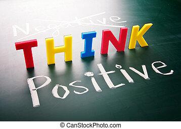 non, negativo, pensare, positivo
