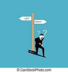 non, uomo affari, affari, confuso, decision., sapere, fare, dove, go.