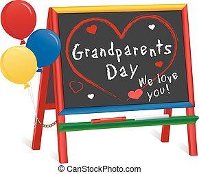 nonni, giorno, cavalletto, lavagna