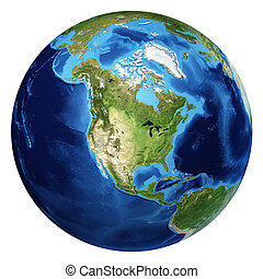 nord, d, globo, rendering., realistico, 3, terra, vista., america
