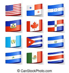 nord, flags., america., mondo