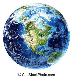 nord, un po', clouds., terra pianeta, vista., america