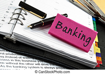 nota, bancario, penna, ordine del giorno