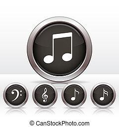 nota, bottoni, icon., set, musica