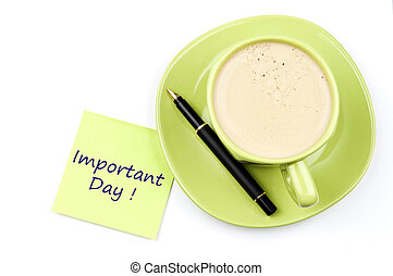 nota, caffè, importante, giorno