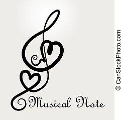nota, cuore, amore, musicale, logotipo