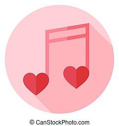 nota, cuori, cerchio, musicale, icona