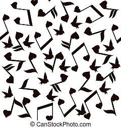 nota, cuori, musica