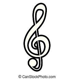 nota, isolato, g-clef, musicale